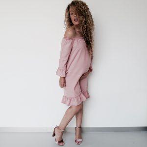 Oud roze Off-shoulder jurk van ONLY